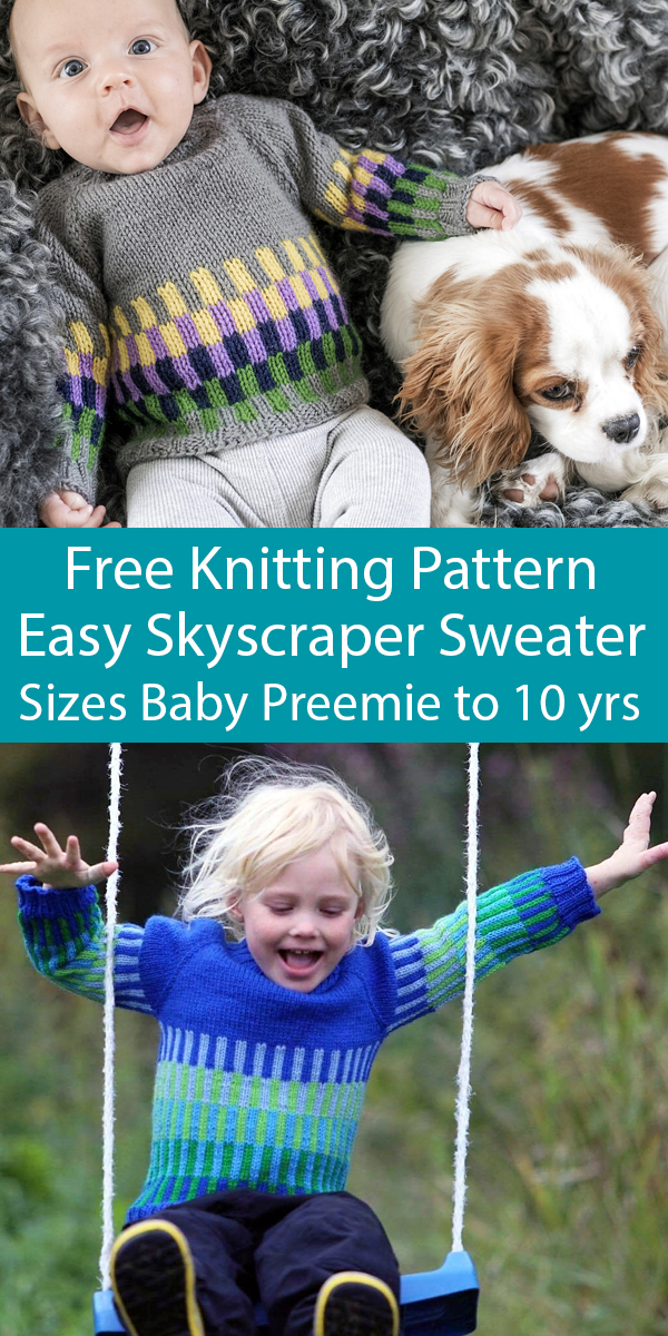 Free Knitting Pattern for Easy One Piece Skyscraper Sweater Sizes Baby Preemie to 10 Years