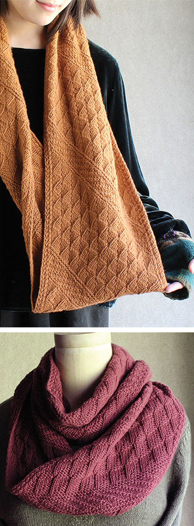 Knitting Pattern for Slanted Gansey Cowl