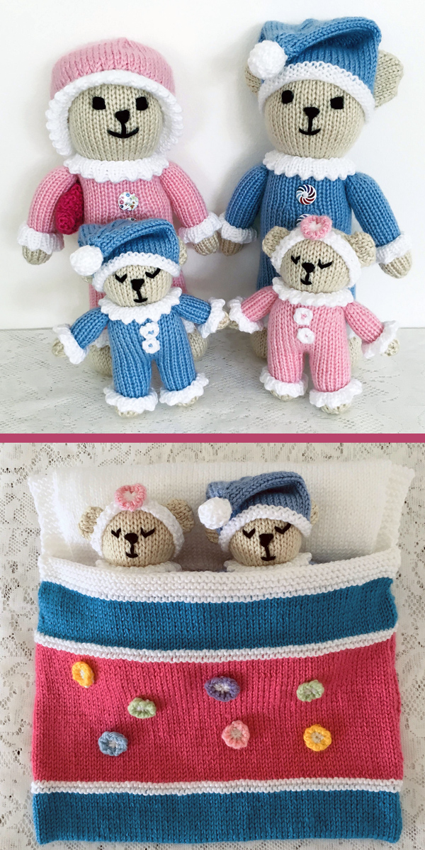 Knitting Pattern for Sleepy Time Teddy Bears
