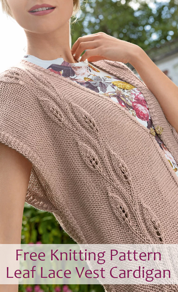 Free Knitting Pattern for Leaf Lace Sleeveless Cardigan Vest