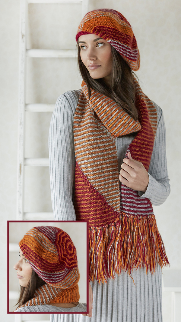 37fe8c252a9 Knitting Pattern for Sliced Stripe Hat and Scarf