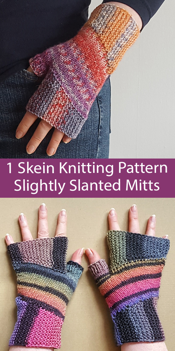 One Skein Knitting Pattern Slightly Slanted Fingerless Mitts for Sock Yarn