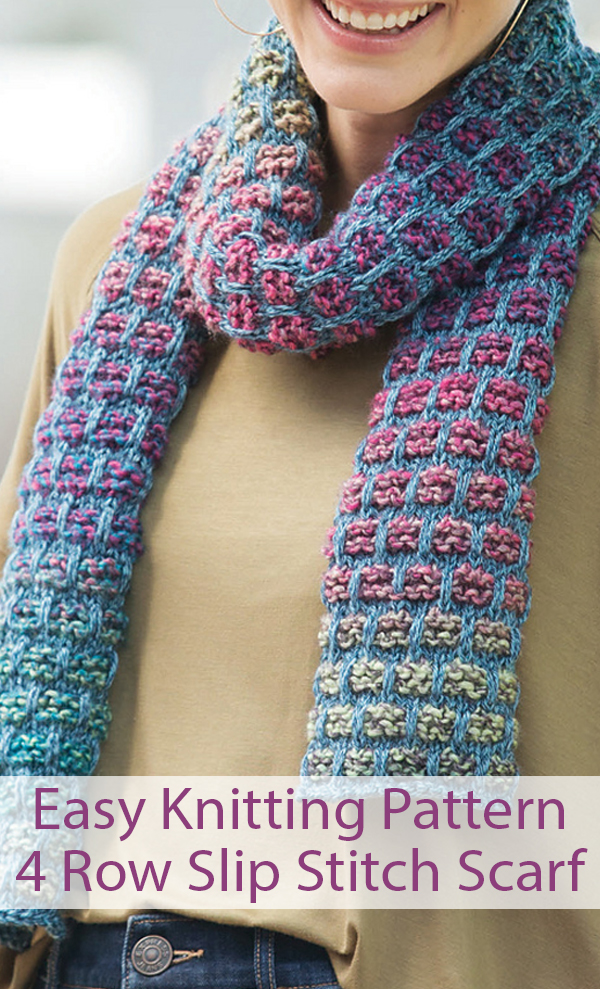 Knitting Pattern for 4 Row Repeat Slip Stitch Scarf