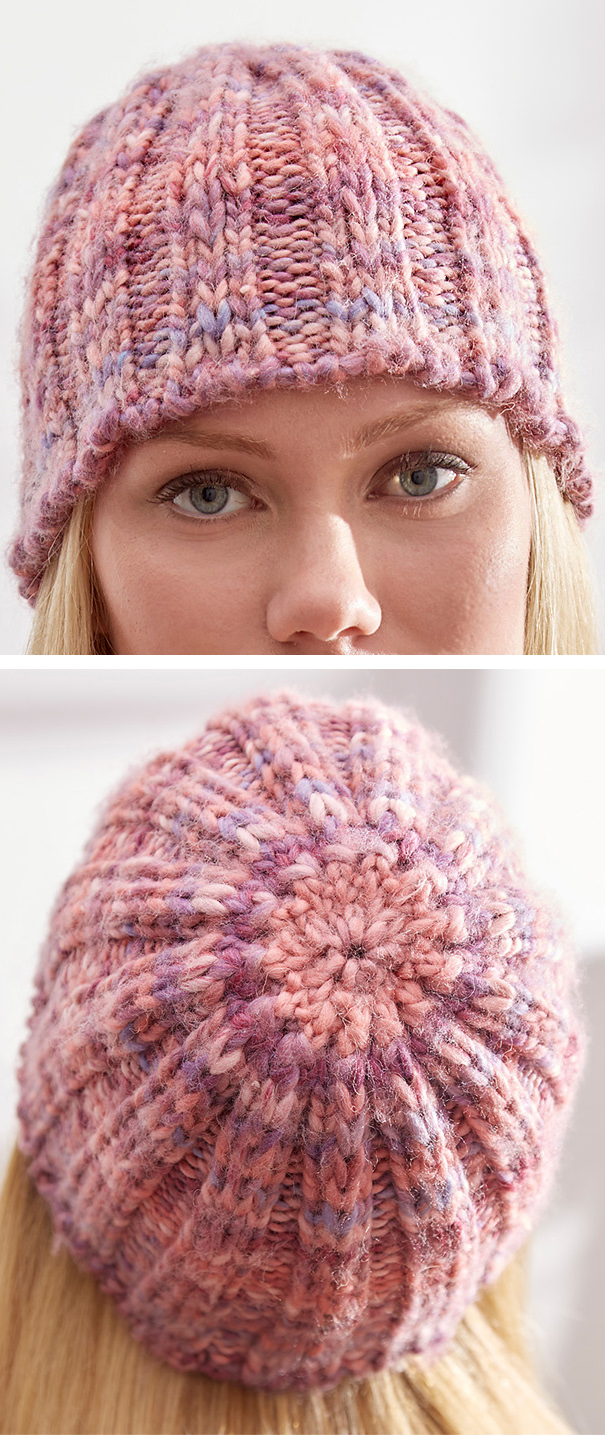 Free Knitting Pattern for 2 Row Repeat Slipped Rib Hat