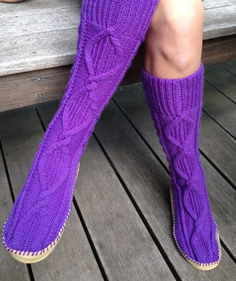 Free Knitting Pattern for Cabled Slipper Socks