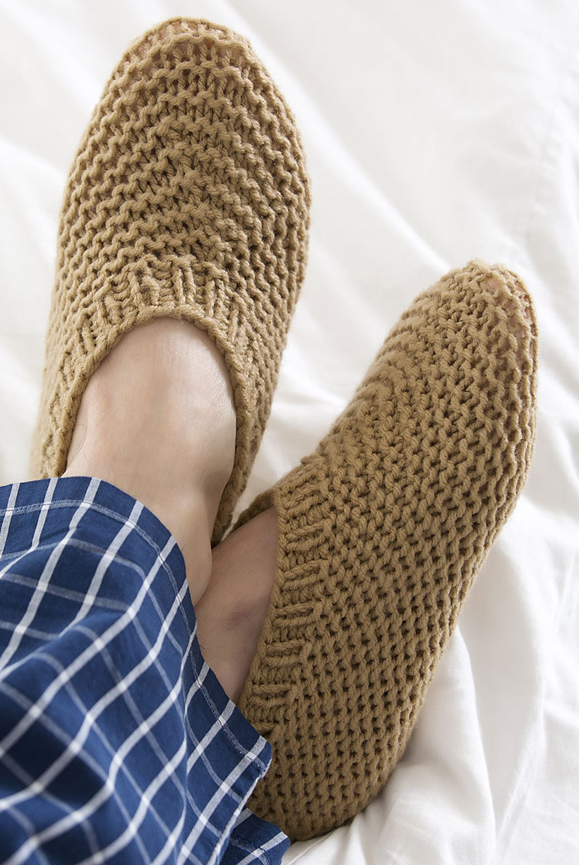 Free Knitting Pattern for Easy Slippers for Him