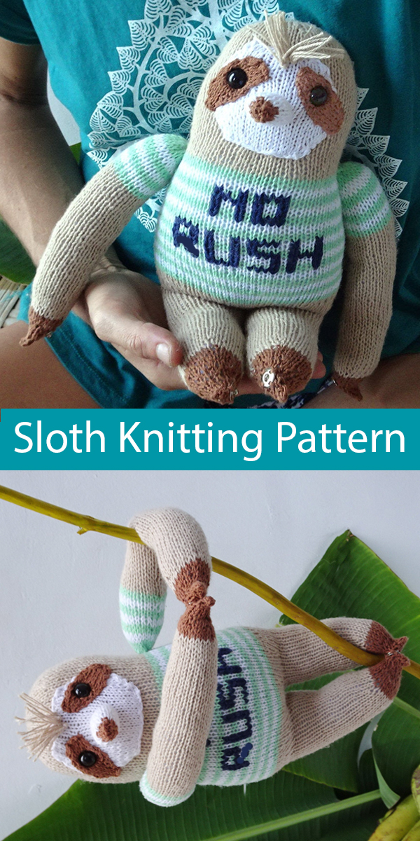 Knitting Pattern for Sloth Amigurumi Toy