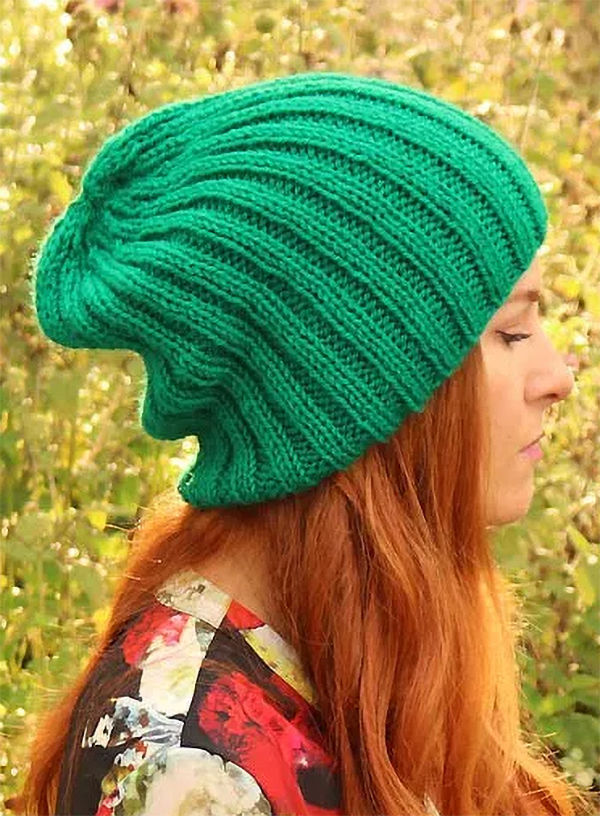 Free Knitting Pattern for Ribbed Slouch Beanie