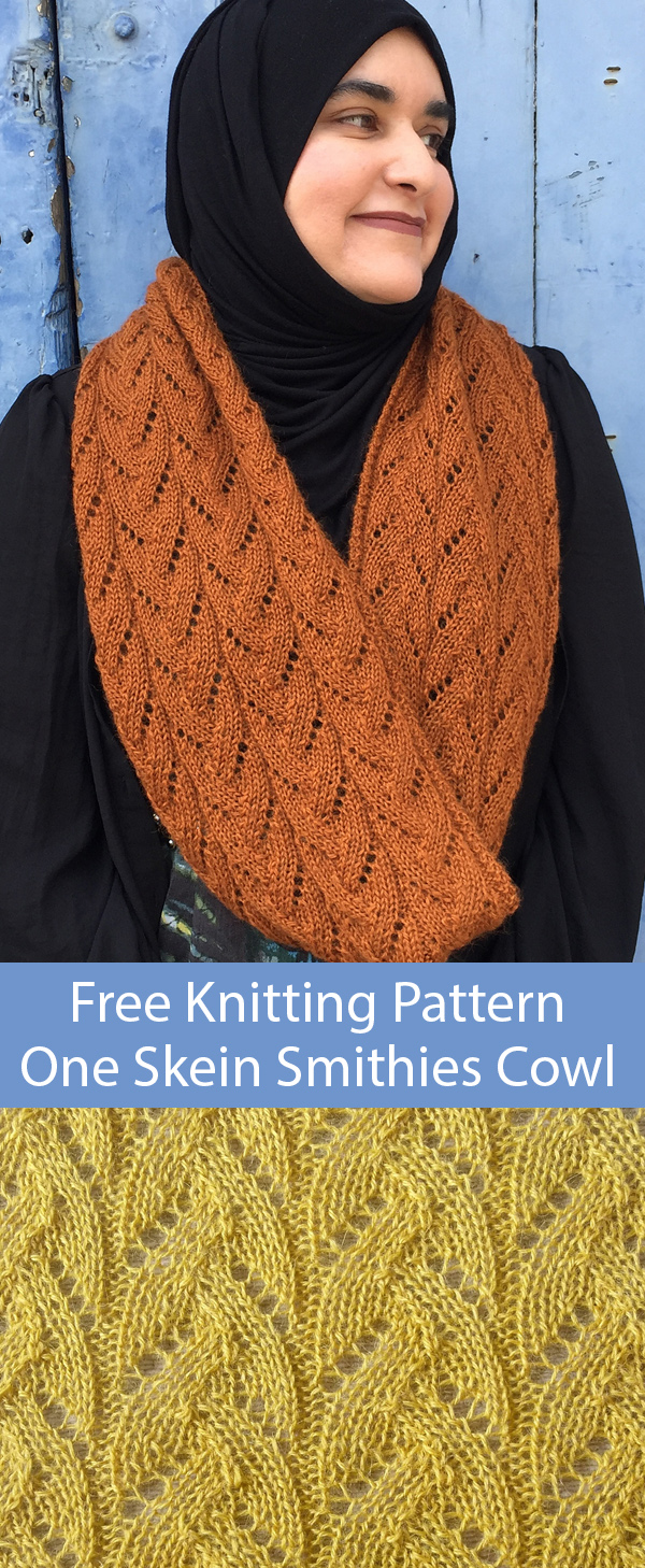 Free Knitting Pattern for One Skein Smithies Cowl Infinity Scarf