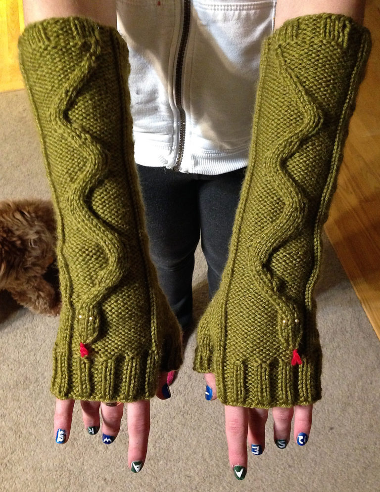 Free Knitting Pattern for Dumber Than Snakes Mitts