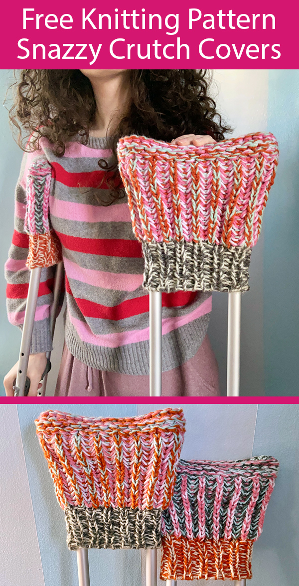 Free Knitting Pattern for r Snazzy Crutch Covers Stashbuster