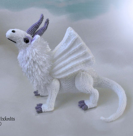Knitting Pattern for Snow Dragon Toy