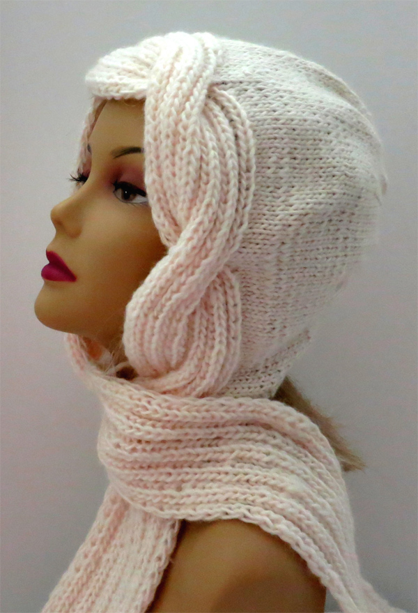 Knitting Pattern for Snow Goddess Hooded Scarf