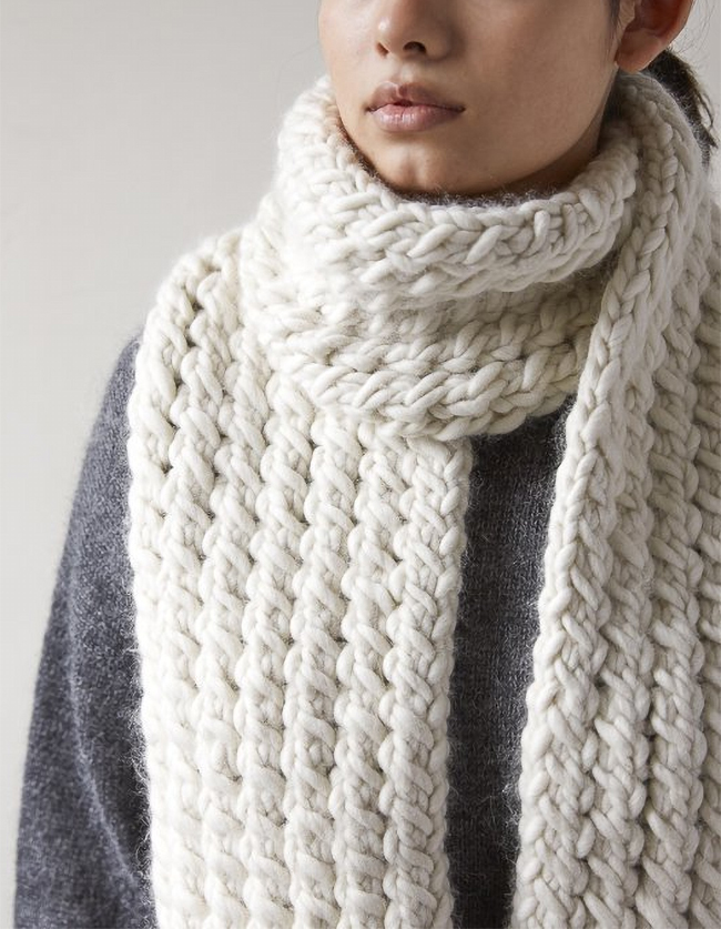 Free Knitting Pattern for 2 Row Repeat Snow Tracks Scarf