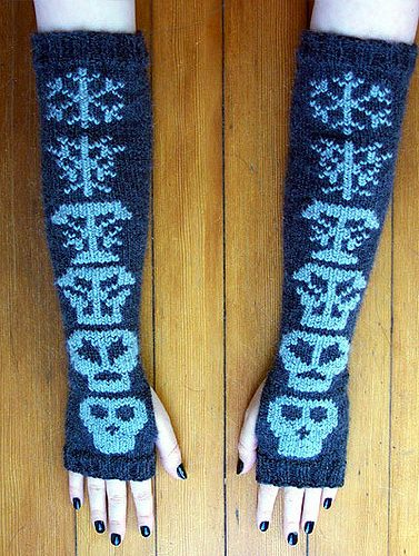 Free knitting pattern for Snowball's Chance in Hell Fingerless Mitts
