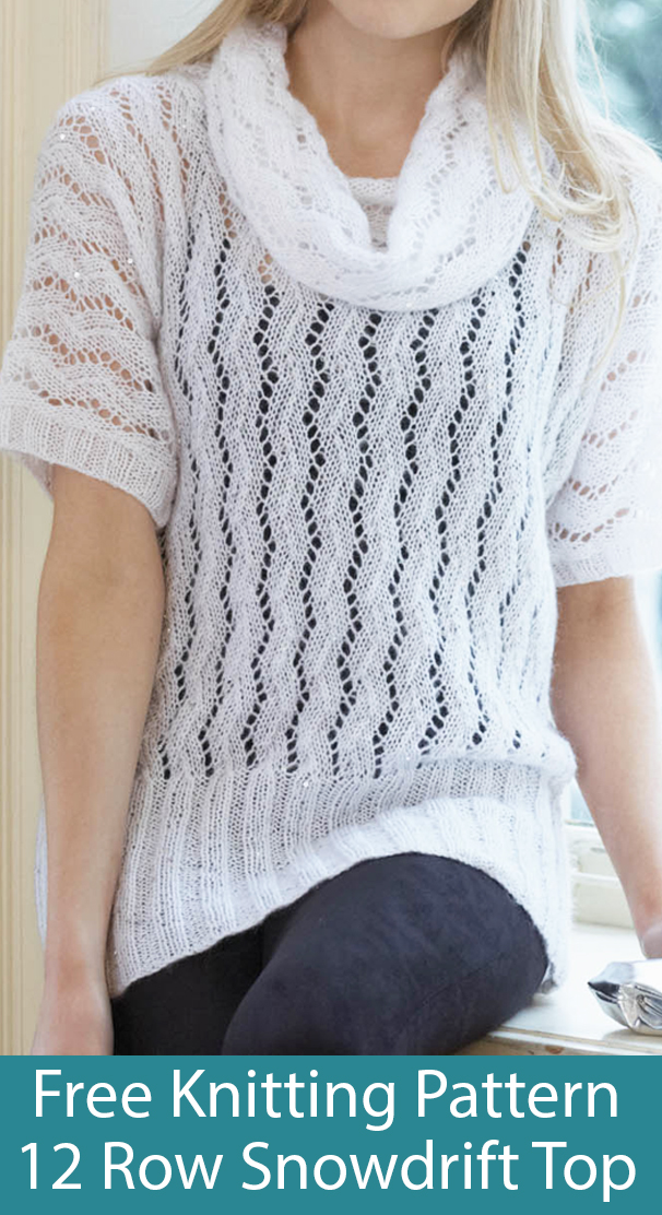 Free Knitting Pattern for 12 Row Snowdrift Pullover