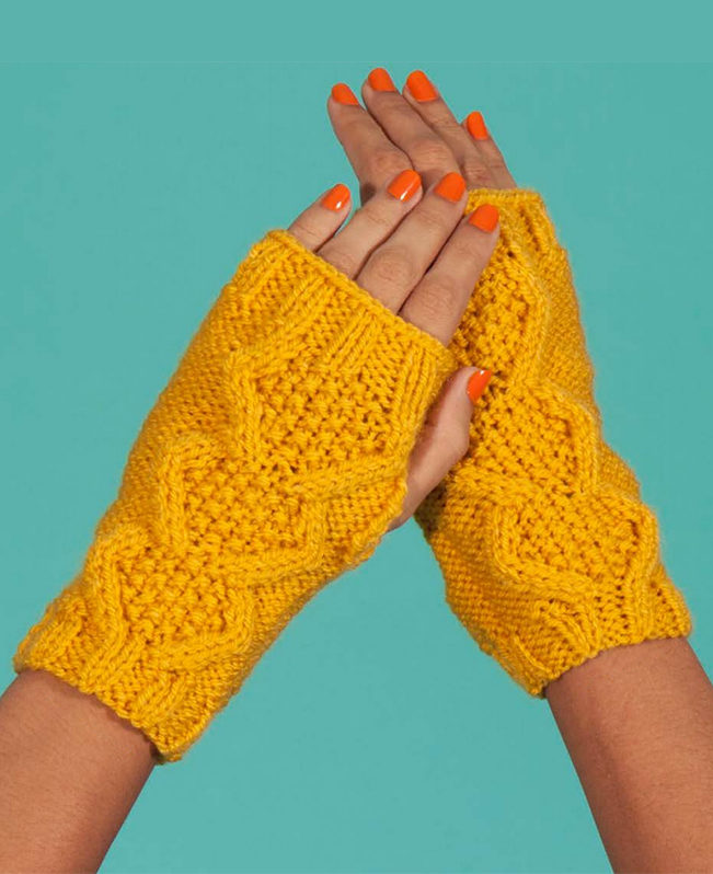 Free Knitting Pattern for Flat Knit Cable Wristwarmers