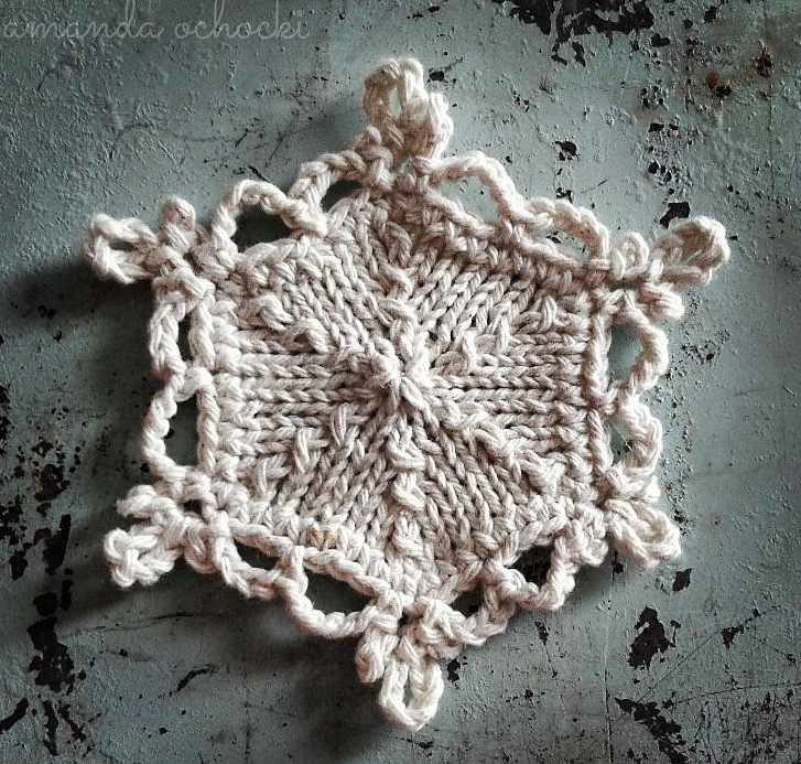 Free Knitting Pattern for Snowflake Ornament