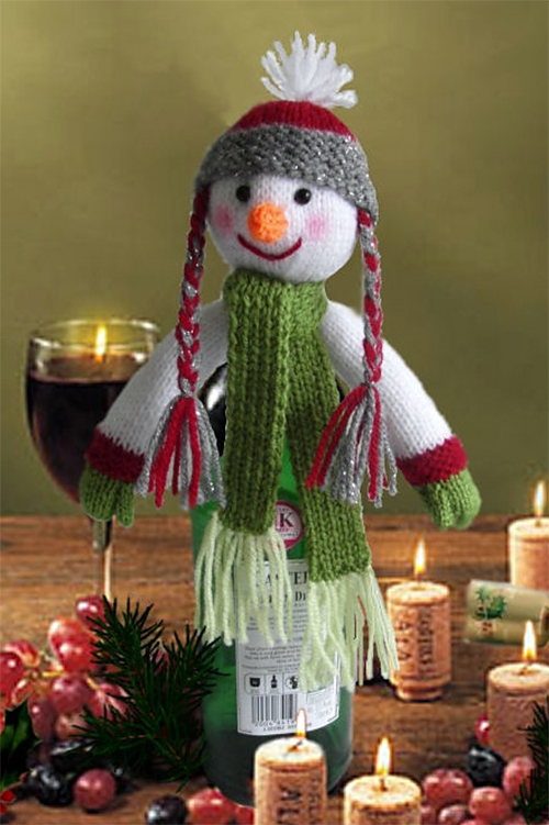 Free Knitting Pattern for Snowman Bottle Topper
