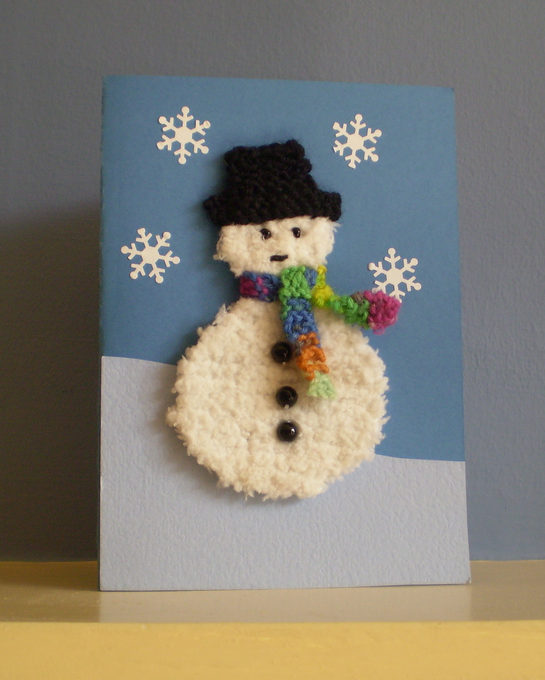 Free Knitting Pattern for Snowman Card