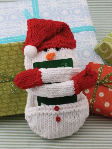 Free knitting pattern for Snow Man Gift Card Holder and more gift wrap knitting patterns