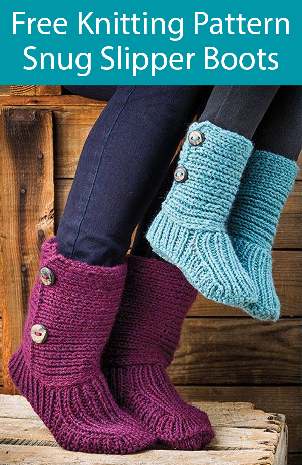 Free Knitting Pattern for Snug Slipper Boots