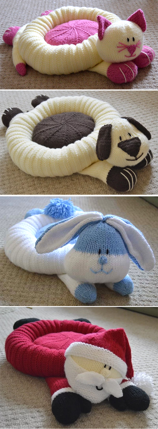 Knitting Pattern for Pet Snuggler Beds or Cushions