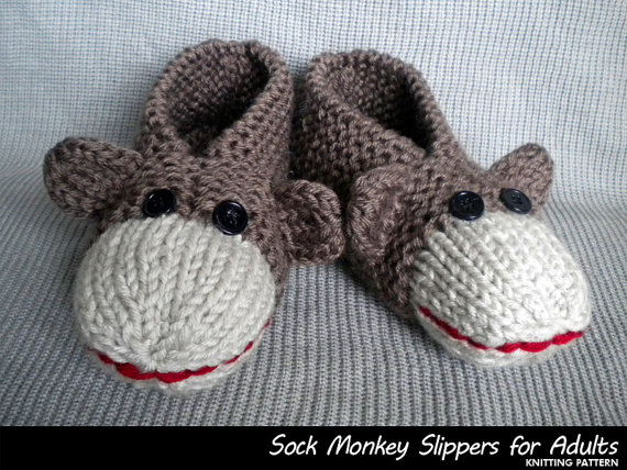 Sock Monkey Slipper Knitting Pattern Adults