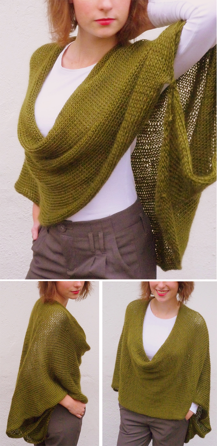 Knitting Pattern for Soft Wrap Poncho