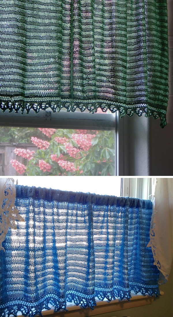 Free Knitting Pattern for Cafe Curtain