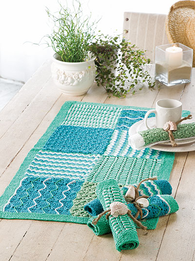 Knitting pattern for Soft Shells Table Runner and Napkin Rings