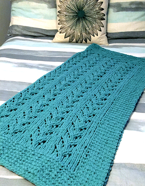 Free Knitting Pattern for 6 Row Repeat Soft Vines Baby Blanket