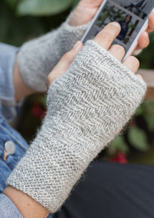 Free Knitting Pattern for Herringbone Mitts