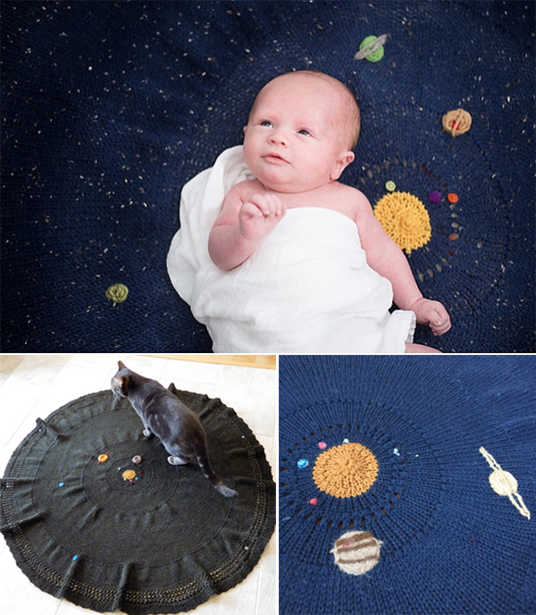 Knitting Pattern for Solar System Blanket