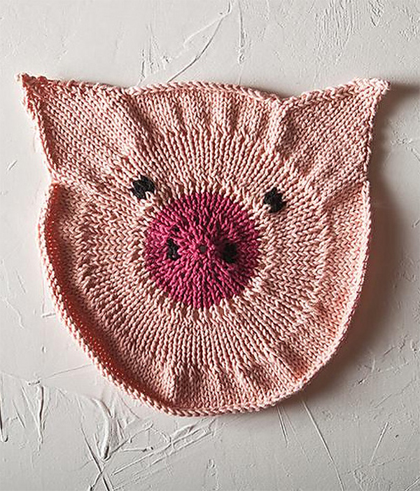 Free knitting pattern for Some Pig Dishcloth
