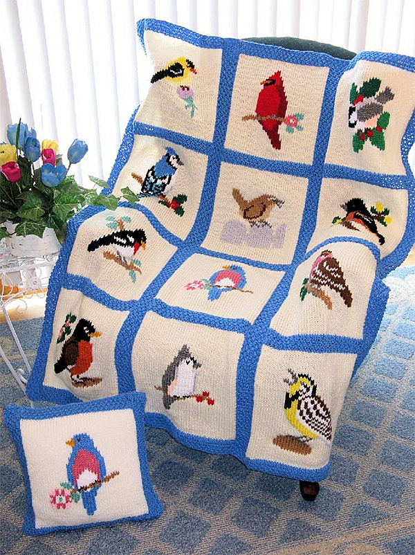 Knitting Pattern for Song Bird Afghan and Pillow