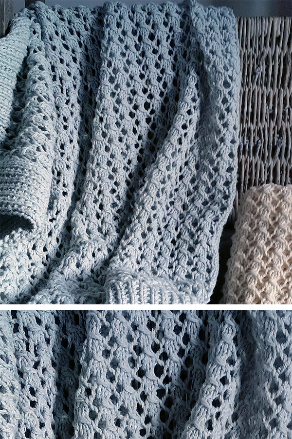 Knitting Pattern for Easy 4 Row Repeat Lace Baby Blanket