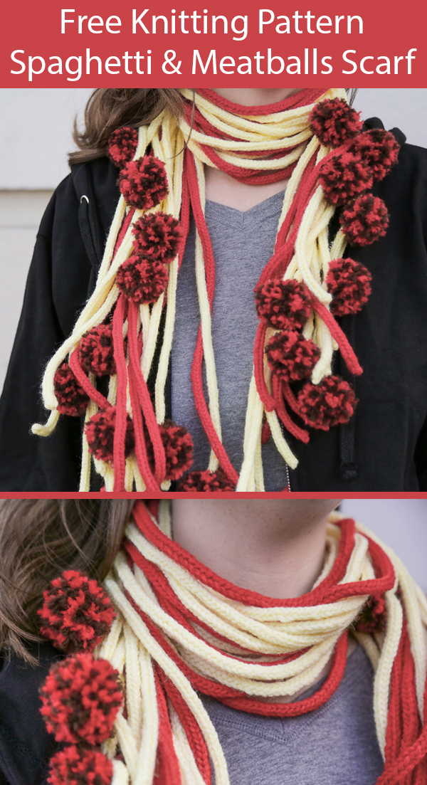 Free Knitting Pattern for Spaghetti and Meatballs Scarf