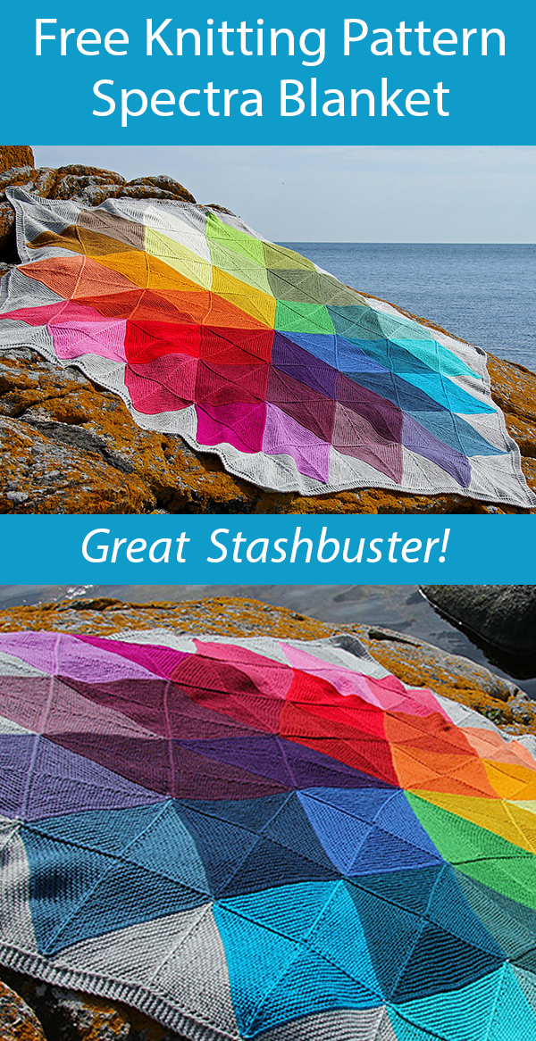Free Knitting Pattern for Spectra Blanket Stashbuster Throw