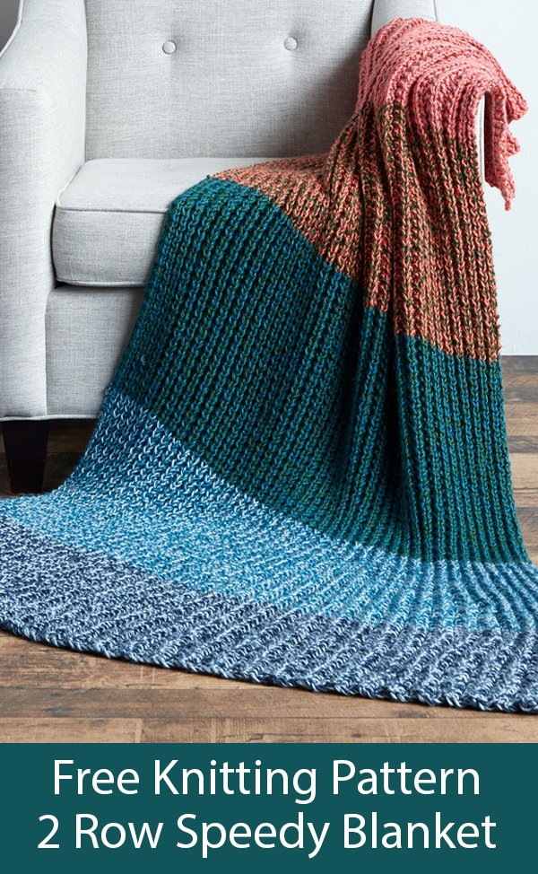 Free Knitting Pattern for Easy 2 Row Repeat Speedy Blanket