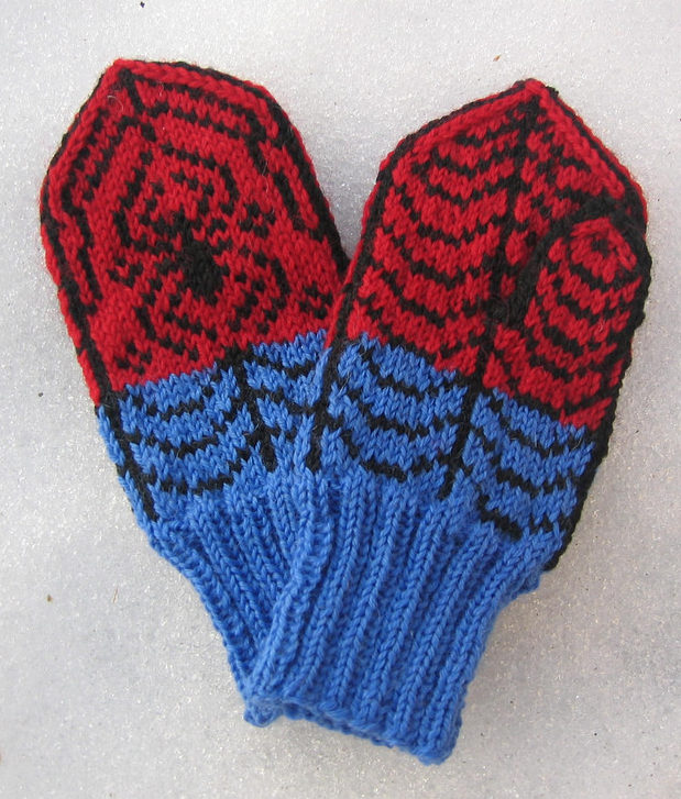 Free Knitting Pattern for Spiderman Mittens