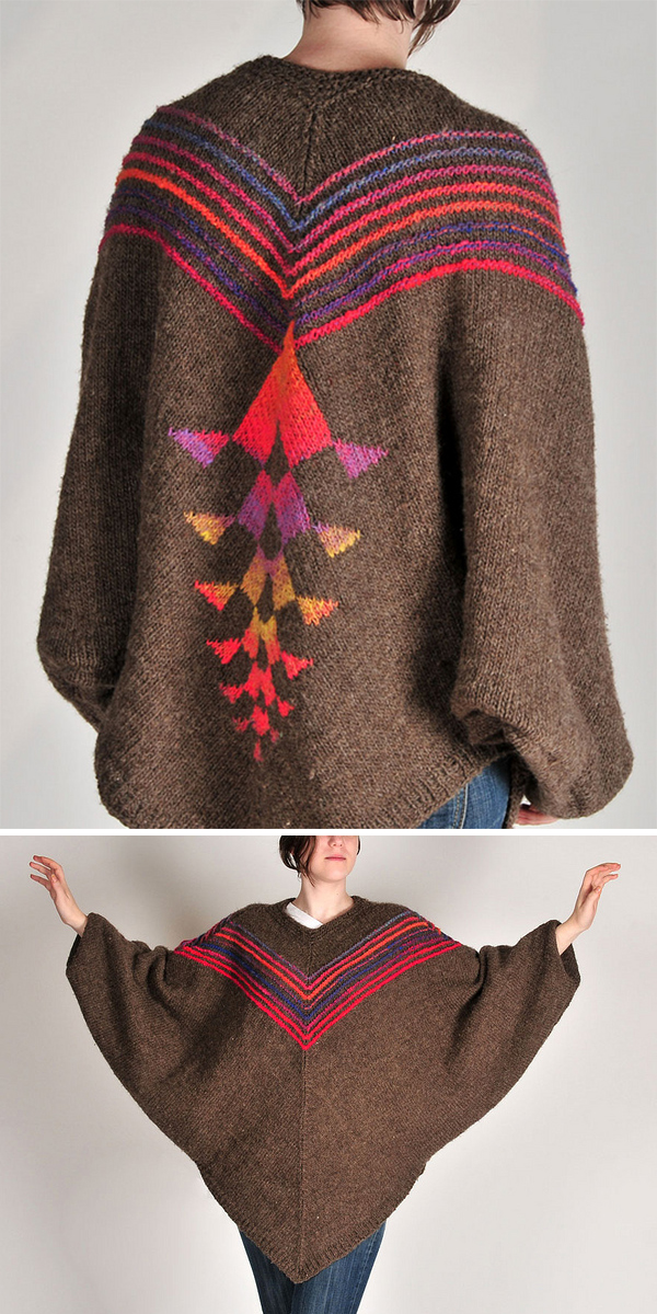 Free Knitting Pattern for Spine Poncho