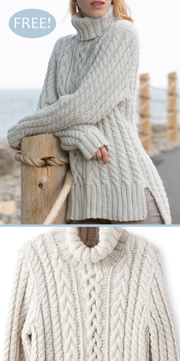 Free Knitting Pattern for Split Hem Cable Pullover