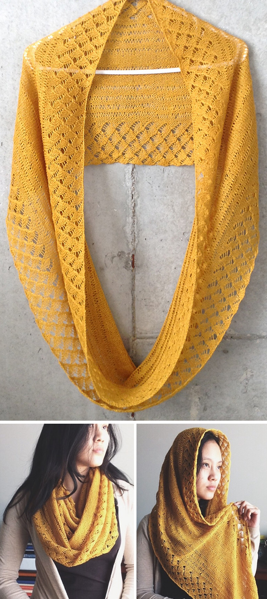 Free Knitting Pattern for Spring Lace Infinity Scarf