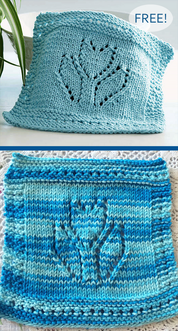 Free Knitting Pattern for Spring Tulip Dishcloth