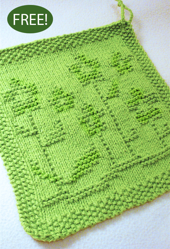 Free Knitting Pattern for Springing Up Flowers Wash or Dish Cloth