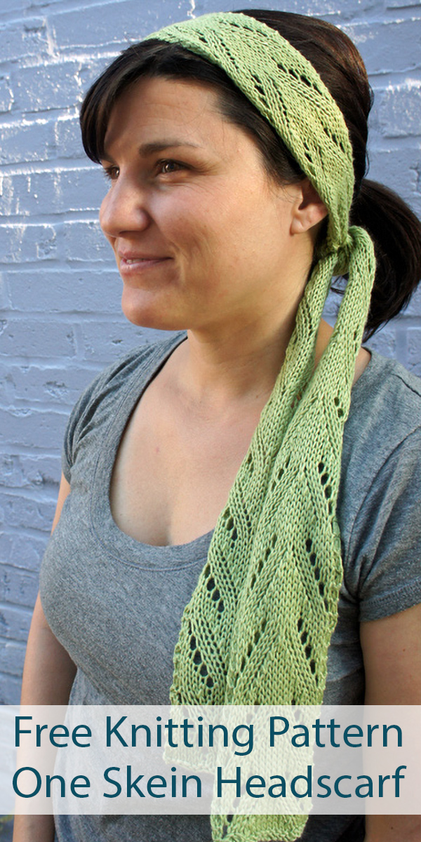 Free Knitting Pattern for One Skein Headscarf Springlike