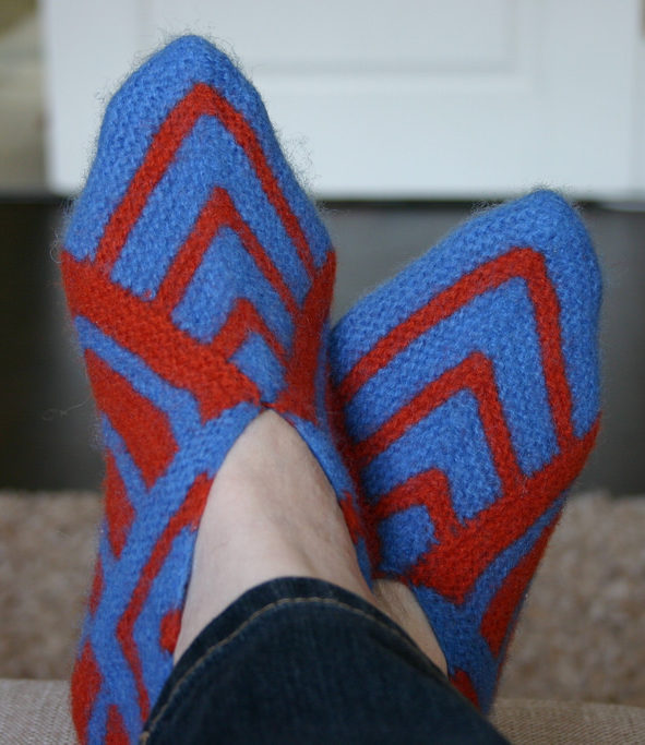Knitting Pattern for Easy Square Slippers