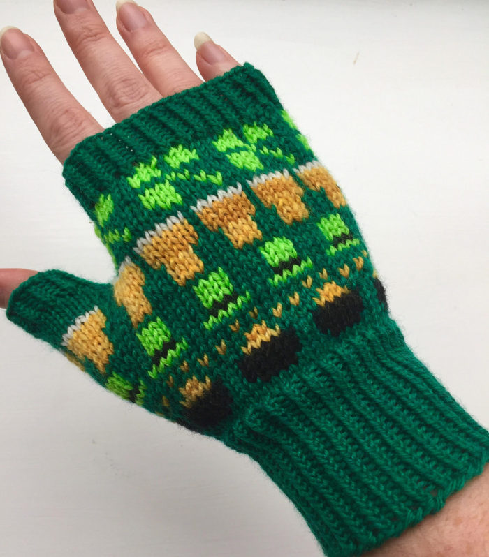 Free Knitting Pattern for St. Paddy's Day Mitts