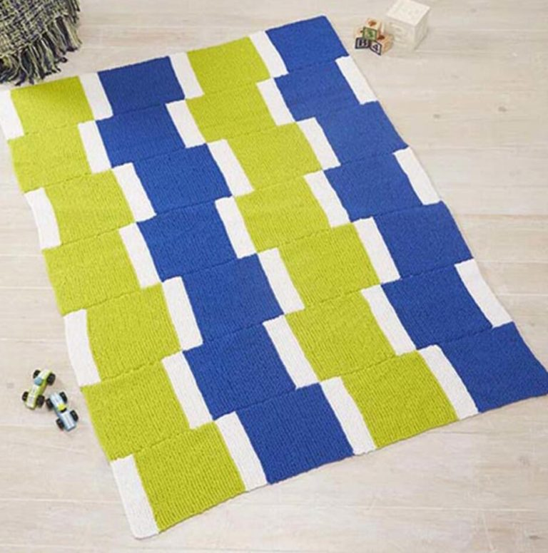 Free Knitting Pattern for Stacked Square Throw